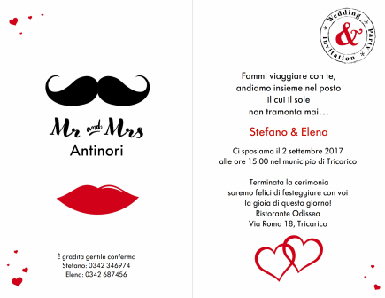 "Inviti matrimonio originali, con divertente grafica ""Mr. & Mrs."""